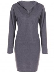 Hooded Long Sleeve Dress - GRAY