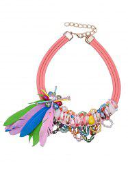 Feather Beads Tassel Layered Necklace