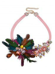 Feather Flower Fake Crystal Necklace -