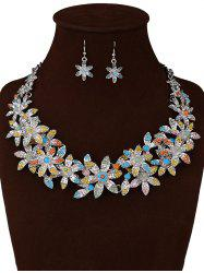 Rhinestoned Floral Party Jewelry Set -