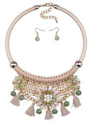 Statement Floral Tassel Weaving Faux Crystal Jewelry Set -