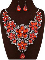 Faux Crystal Floral Statement Jewelry Set - RED