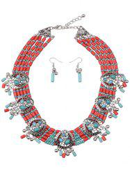 Bohemia Turquoise Water Drop Beads Jewelry Set -