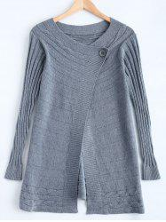 One Button Striped Braid Cardigan -