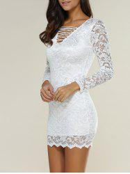 Crisscross Lace Floral Mini Bodycon Dress - WHITE