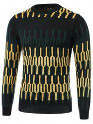 Geometric Spliced Print Round Neck Long Sleeve Sweater