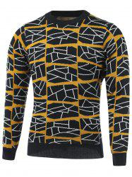 Color Block Geometric Grid Print Round Neck Long Sleeve Sweater