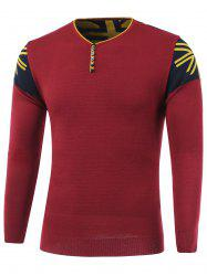 Color Block Spliced Buttons Embellished V-Neck Long Sleeve Sweater