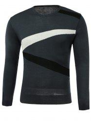 Color Block Spliced Design V-Neck Long Sleeve Sweater - GRAY 3XL
