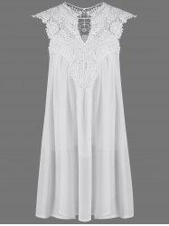 Crochet Lace Insert Ruched Dress - WHITE