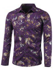 Turn-Down Collar Golden Floral Printed Long Sleeve Shirt