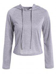 Raglan Sleeve Drawstring Hooded T-Shirt -