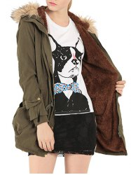 Hooded Fur Embellished Pocket Design Coat