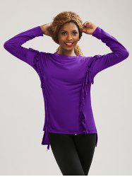 Long Sleeve High Low Fringed T-Shirt -