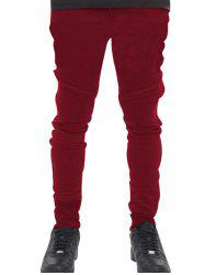 Lace Up Beam Feet Motorcycle Pants - RED