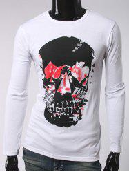 Argyle Skull Print Crew Neck Long Sleeve T-Shirt