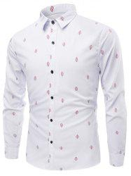 Leaves Pattern Turn-Down Collar Long Sleeve Shirt -