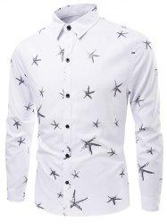 Starfish Pattern Turn-Down Collar Long Sleeve Shirt