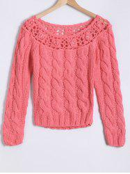 Hollow Out Beaded Twist Jacquard Hand-Knitted Sweater