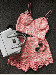 Lace Bustier Crop Top and Shorts - ORANGEPINK