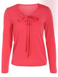 Slimming Lace Up Long Sleeve T-Shirt -