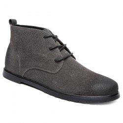 Retro Lace-Up Suede Ankle Boots - GRAY