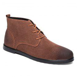 Retro Lace-Up Suede Ankle Boots - BROWN