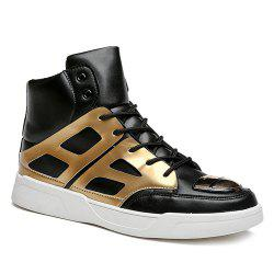 Patent Leather Spliced Lace-Up Boots - GOLDEN