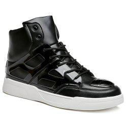 Patent Leather Spliced Lace-Up Boots - BLACK 42