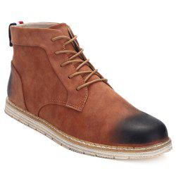 Stitching Lace-Up PU Leather Ankle Boots - BROWN