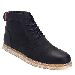 Stitching Lace-Up PU Leather Ankle Boots - BLACK 40