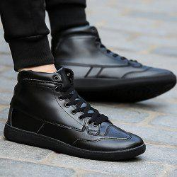 High Top PU Leather Athletic Shoes - BLACK