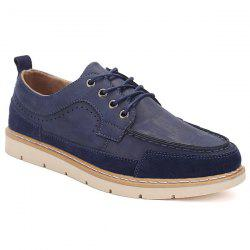 Lace-Up Stitching Suede Spliced Casual Shoes - DEEP BLUE