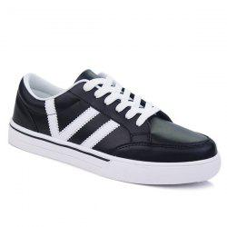 Color Splice Lace-Up Skate Shoes - BLACK