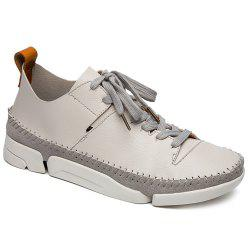 Stiching Lace-Up Suede Spliced Casual Shoes -