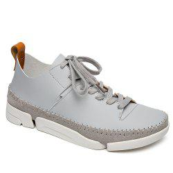 Stiching Lace-Up Suede Spliced Casual Shoes - GRAY