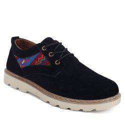 Ethnic Style Suede Lace-Up Casual Shoes - BLACK