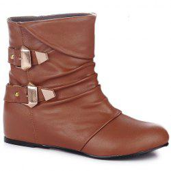 Double Buckle PU Leather Ruched Short Boots -