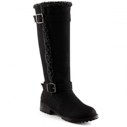 Buckles Low Heel Faux Shearling Mid-Calf Boots - BLACK