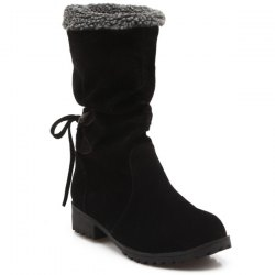 Low Heel Suede Faux Shearling Boots - BLACK