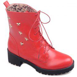 Chunky Heel Star Embellished Combat Boots -