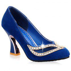 Hollow Out Rhinestone Chunky Heel Pumps - BLUE