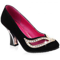 Hollow Out Rhinestone Chunky Heel Pumps - BLACK