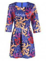 3/4 Sleeve Ruffled Print Dress