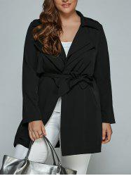 Overlay Tied Plus Size Trench Coat - Noir