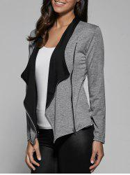 Two Tone Asymmetrical Zip Jacket - GRAY