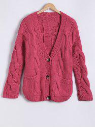 Front Pocket Design Button Up Hand-Knitted Short Cardigan
