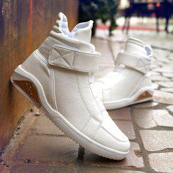 PU Leather Elastic Band Stitching Boots - WHITE