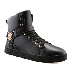 Metal Skull Pattern Tie Up Boots - BLACK
