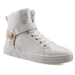 Metal Skull Pattern Tie Up Boots